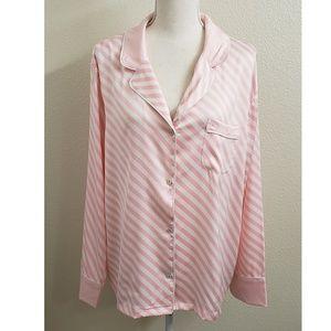 Victoria's Secret Pink/White Pajama Sleep Top NWT